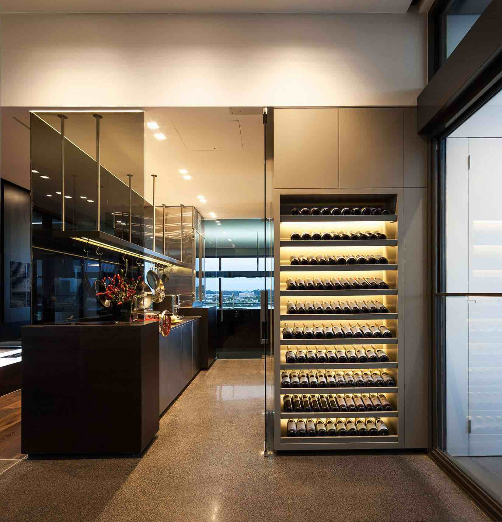 Wine Cellar In Kitchen Floor Coppin Penthouse By Jam Architects Caandesign Architecture And