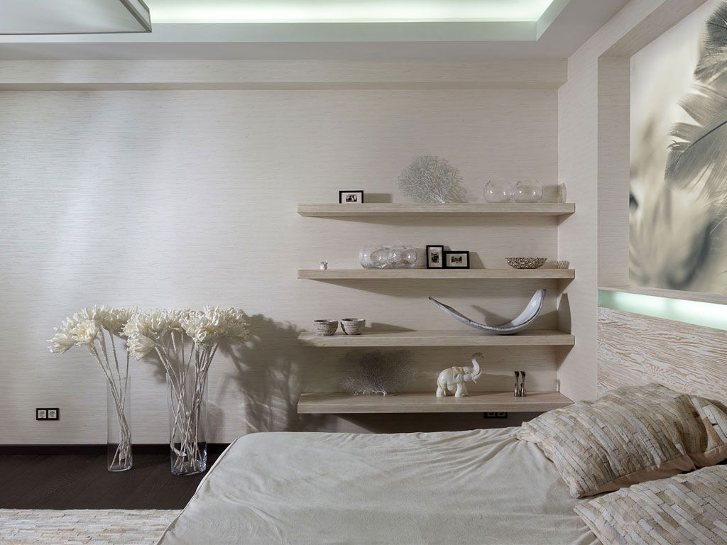 21500squarefeet Home in Dnepropetrovsk by Yakusha Design – White Shelves for Bedroom
