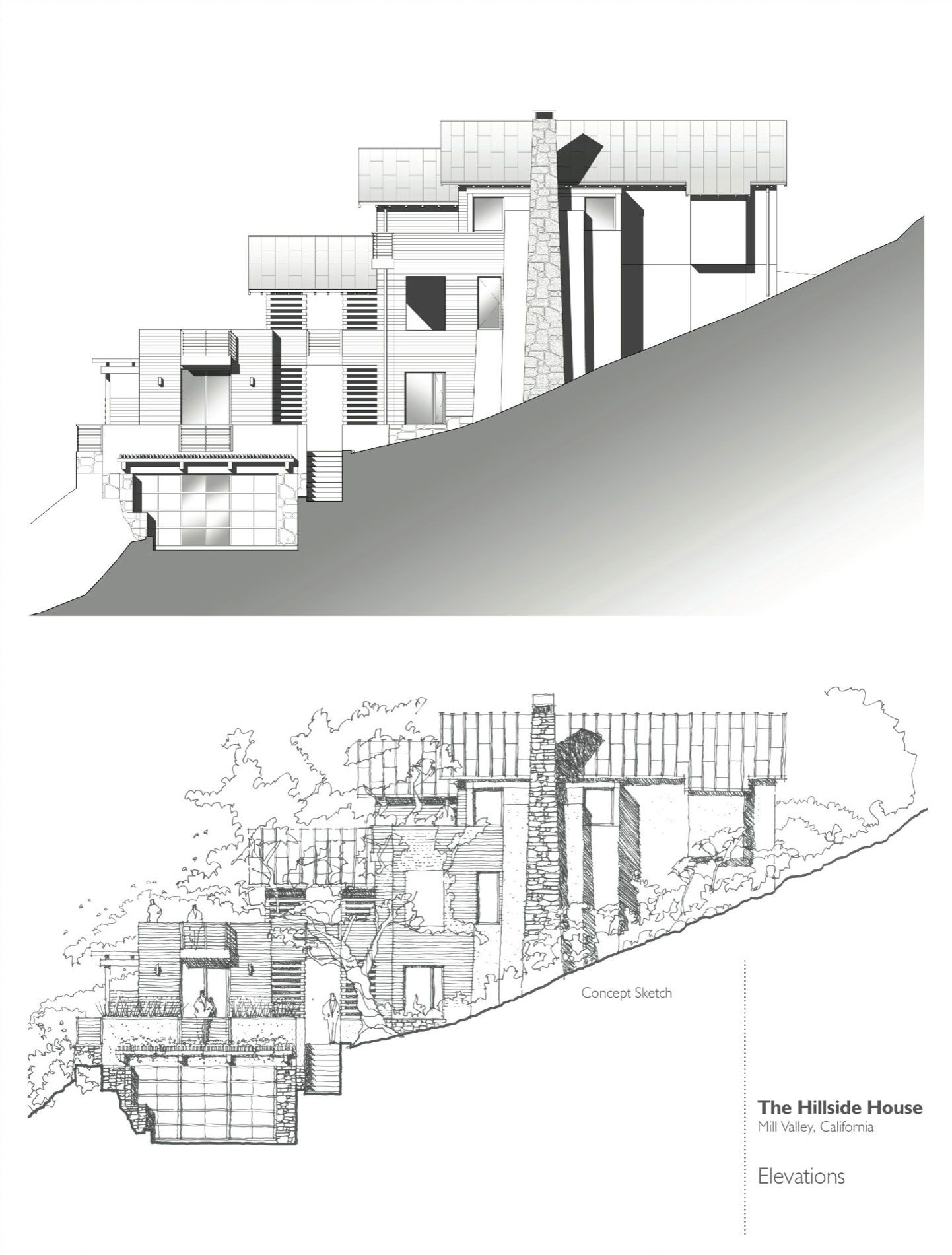 Floor Plan And Elevation Of A Two Storey House : Hillside house by sb architects caandesign