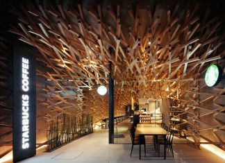 Wooden Starbucks Interior Design in Fukuoka by Kengo Kuma and Associates