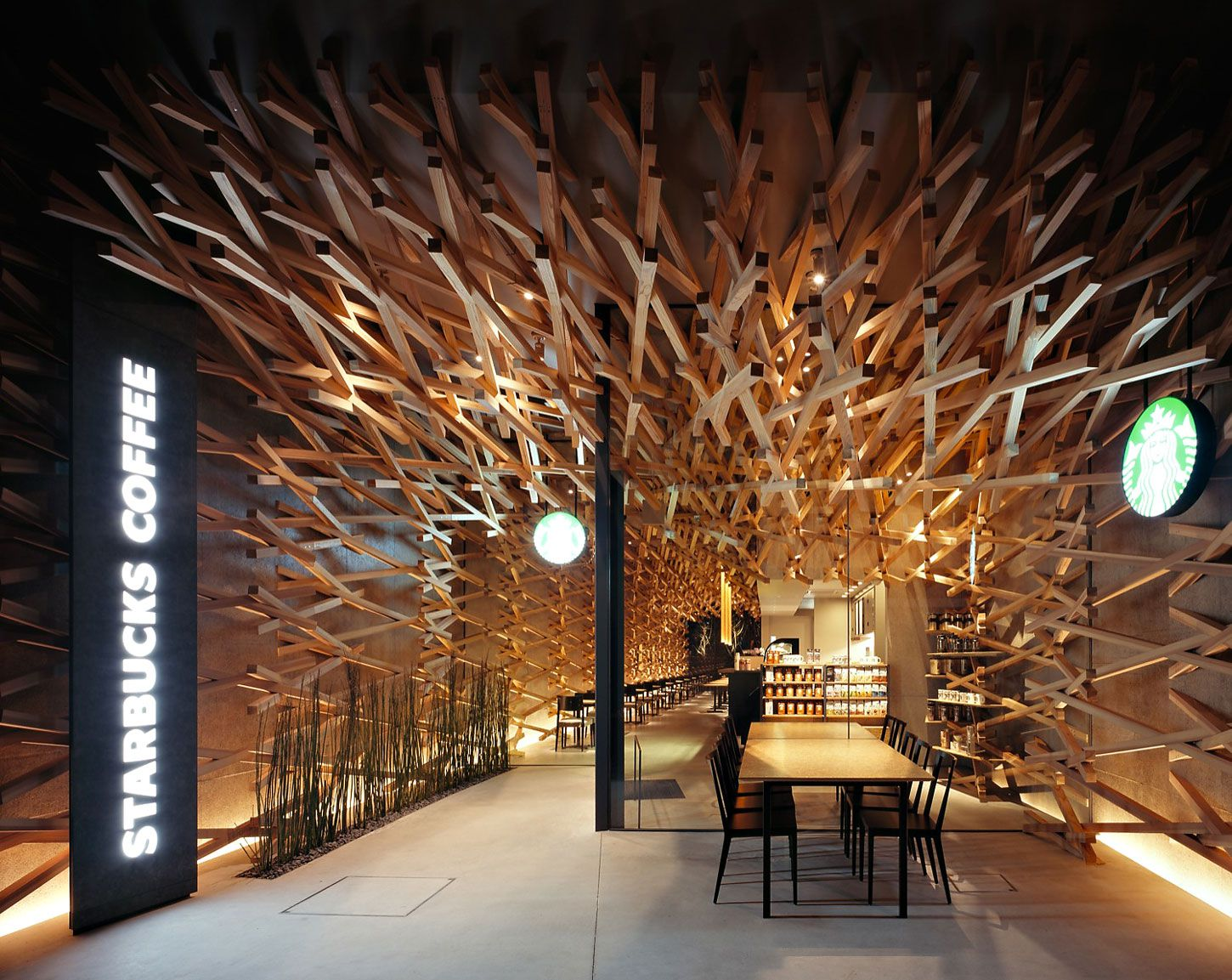 Wooden Starbucks Interior Design in Fukuoka by Kengo Kuma and Associates