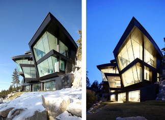 House on a cliff overlooking Lake Tahoe by Mark Dziewulski Architect