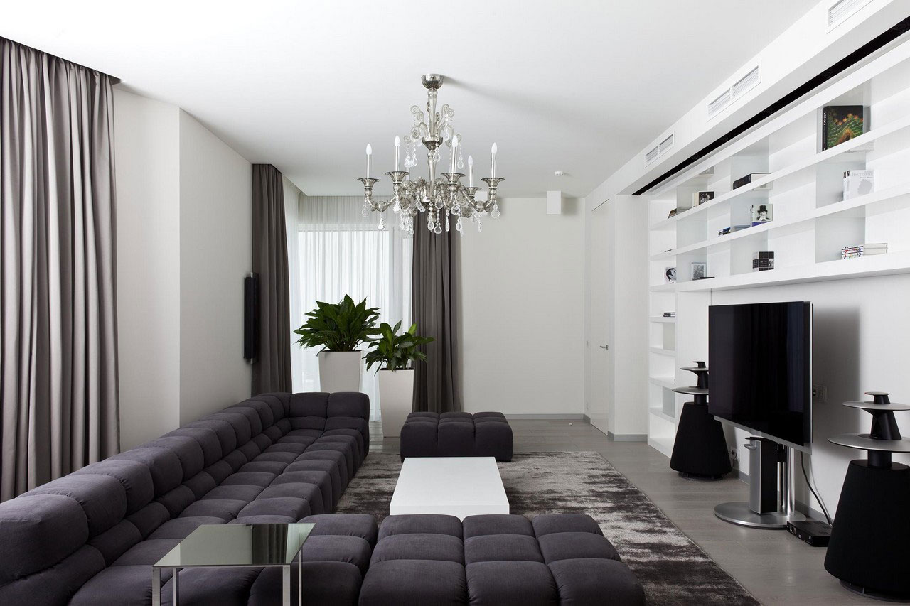 Apartment in mirax park by boris borovsky uborevich for Interieur salon moderne