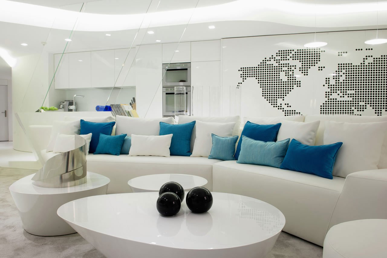 Modern White Madrid Penthouse by A-cero