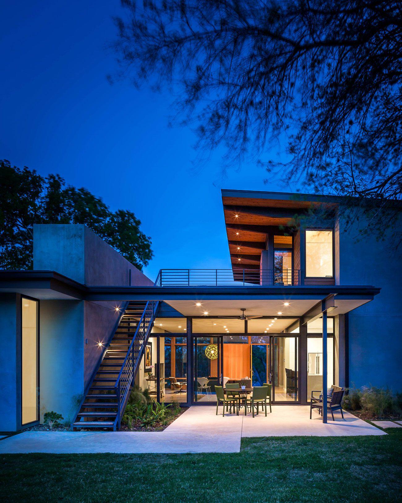 modern Barton Hills Residence by night