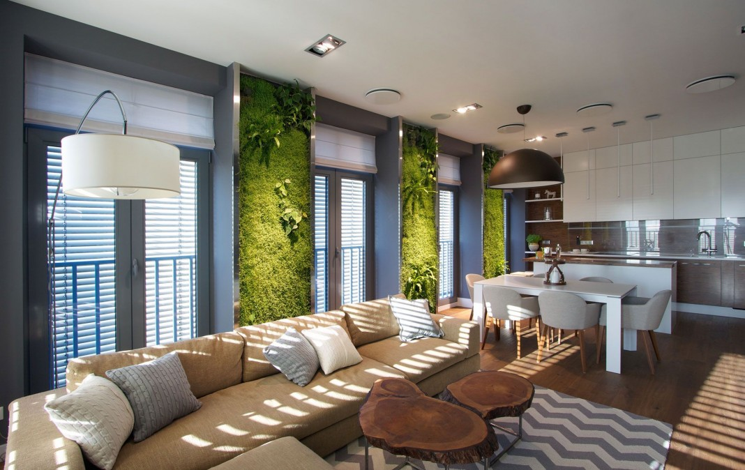 Green Grass Walls Apartment by SVOYA Studio