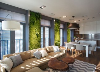 Green Grass Walls Apartment by SVOYA Studio