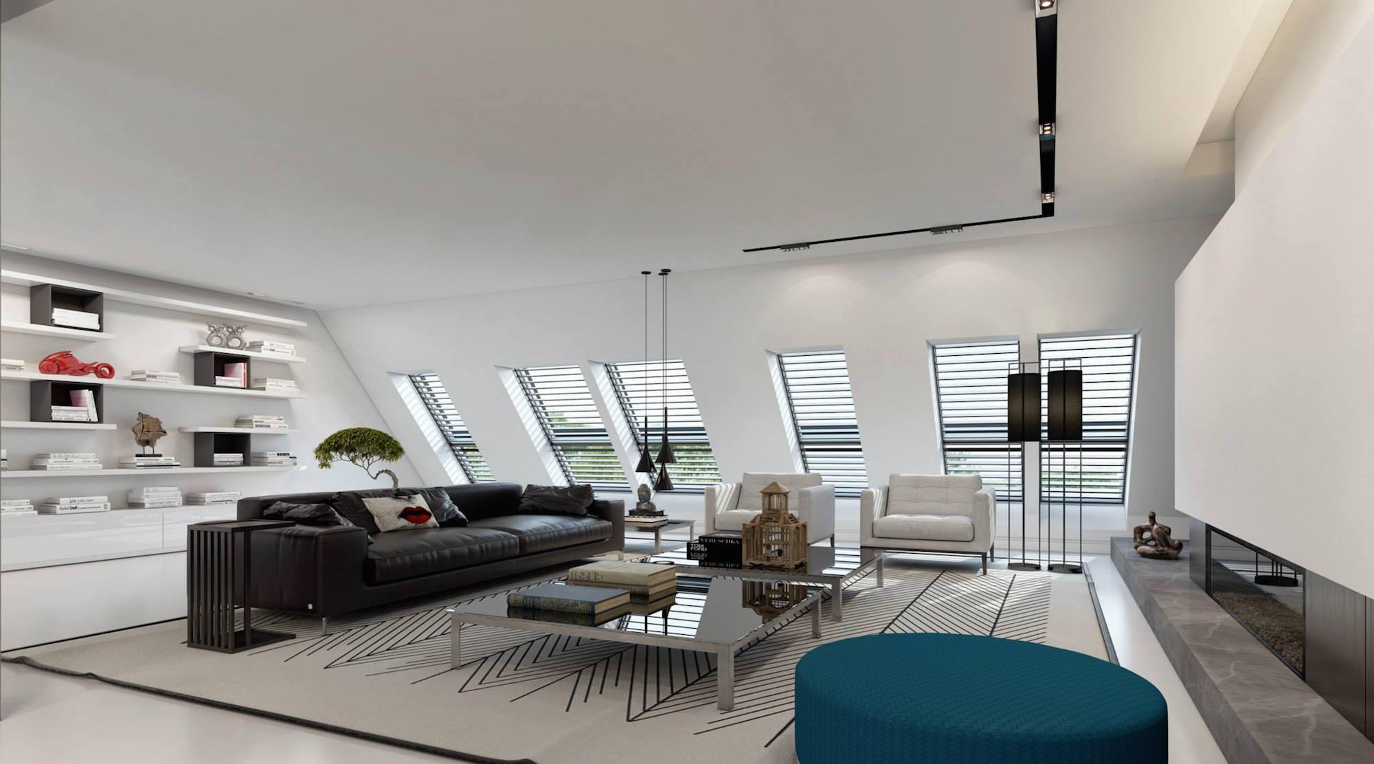 finished attic storage ideas - Ultramodern Dusseldorf Penthouse Design by Ando Studio