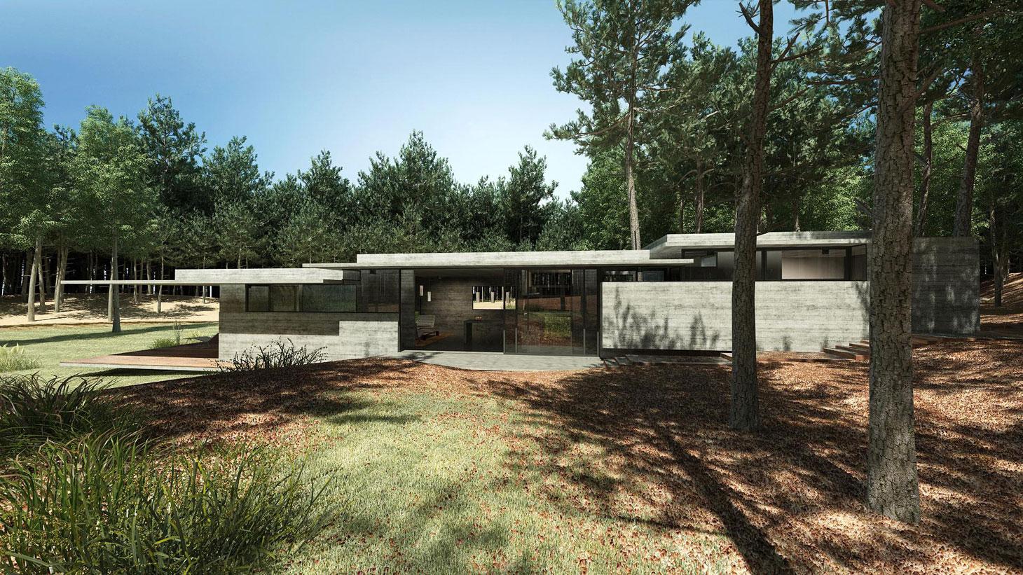 Concrete Forrest House in Costa Esmeralda by Besonias Almeida Arquitectos03