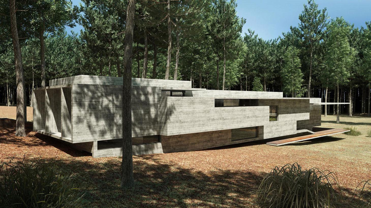 Concrete Forrest House in Costa Esmeralda by Besonias Almeida Arquitectos04