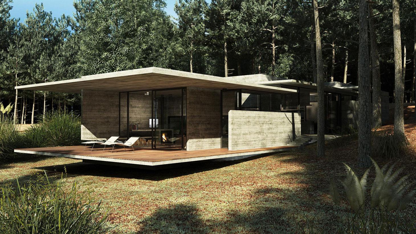 Concrete Forrest House in Costa Esmeralda by Besonias Almeida Arquitectos05