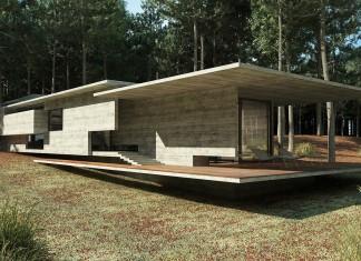 Concrete Forrest House in Costa Esmeralda by Besonias Almeida Arquitectos