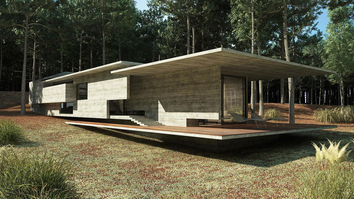 Concrete Forrest House in Costa Esmeralda by Besonias Almeida Arquitectos06