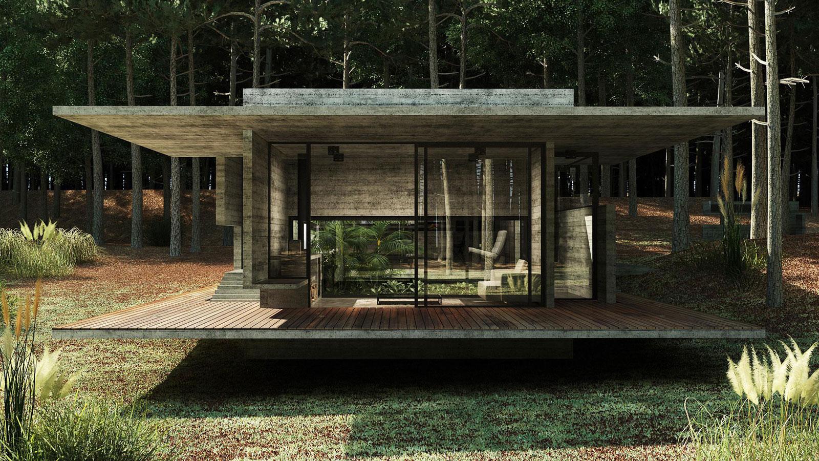 Concrete Forrest House in Costa Esmeralda by Besonias Almeida Arquitectos07