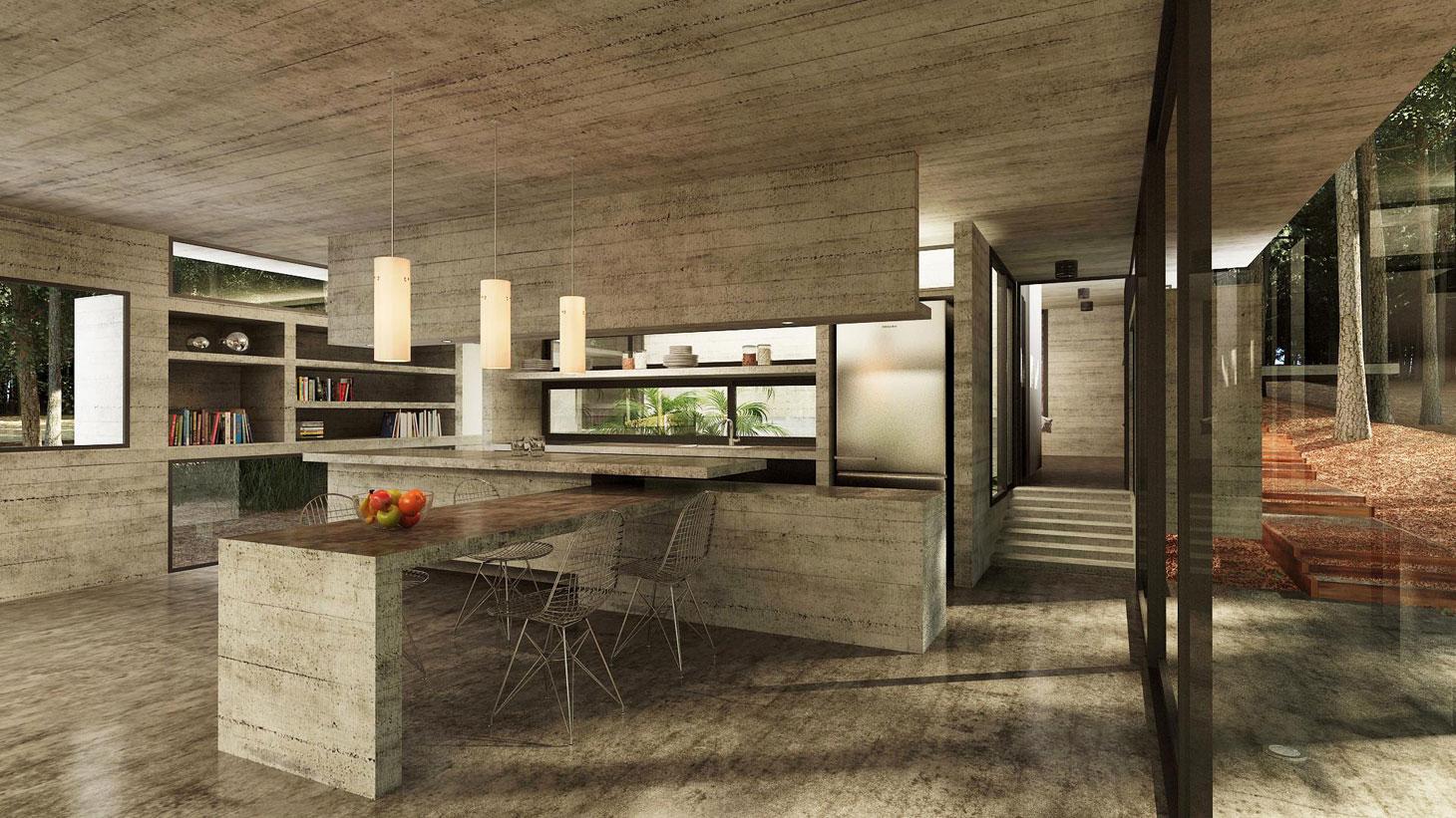 Concrete Forrest House in Costa Esmeralda by Besonias Almeida Arquitectos11