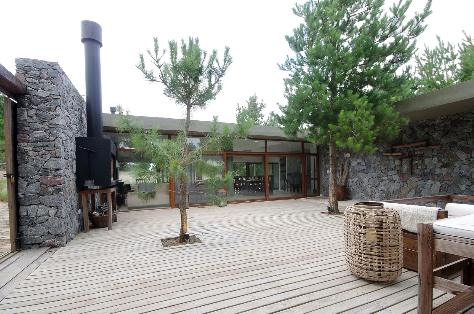 wood paved indoor garden