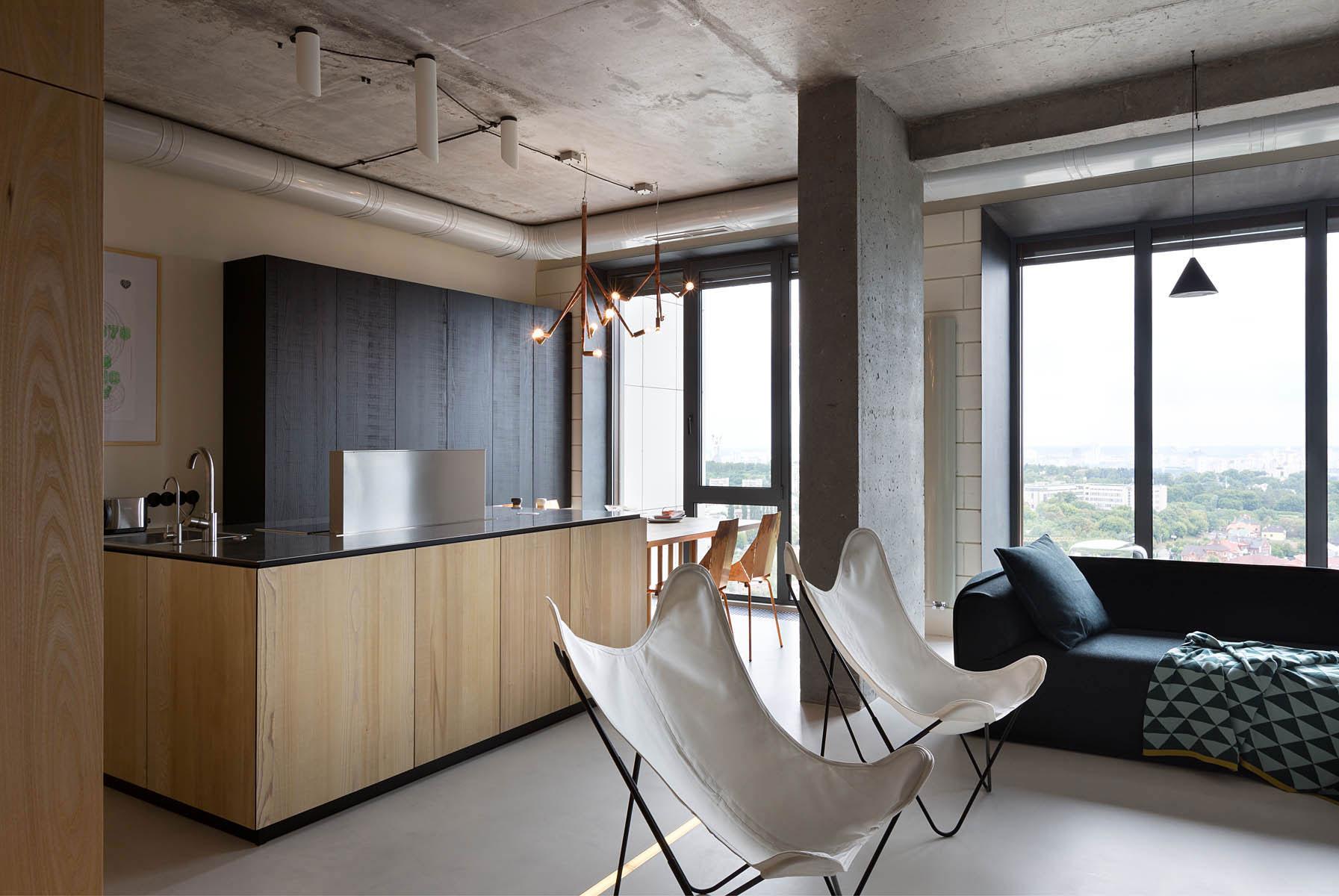 Warm industrial living room -  Elegant 30th Level Npl Penthouse By Olga Akulova Design 13