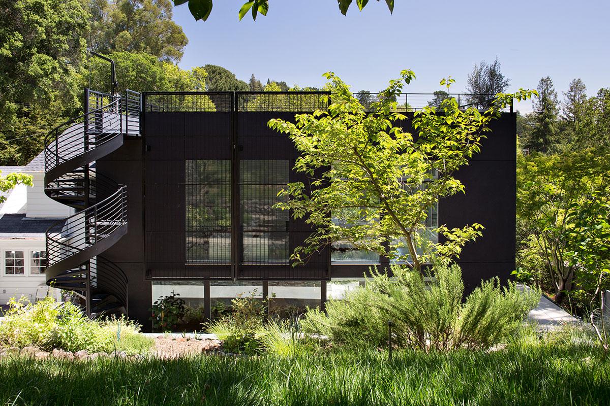 Minimal Modern Addition Home with Dark Grey Stuccoed Walls by Klopf Architecture-01