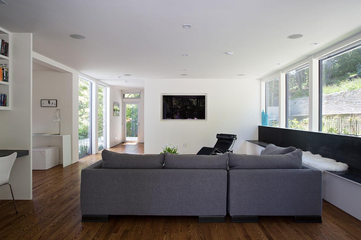 Minimal Modern Addition Home with Dark Grey Stuccoed Walls by Klopf Architecture-07