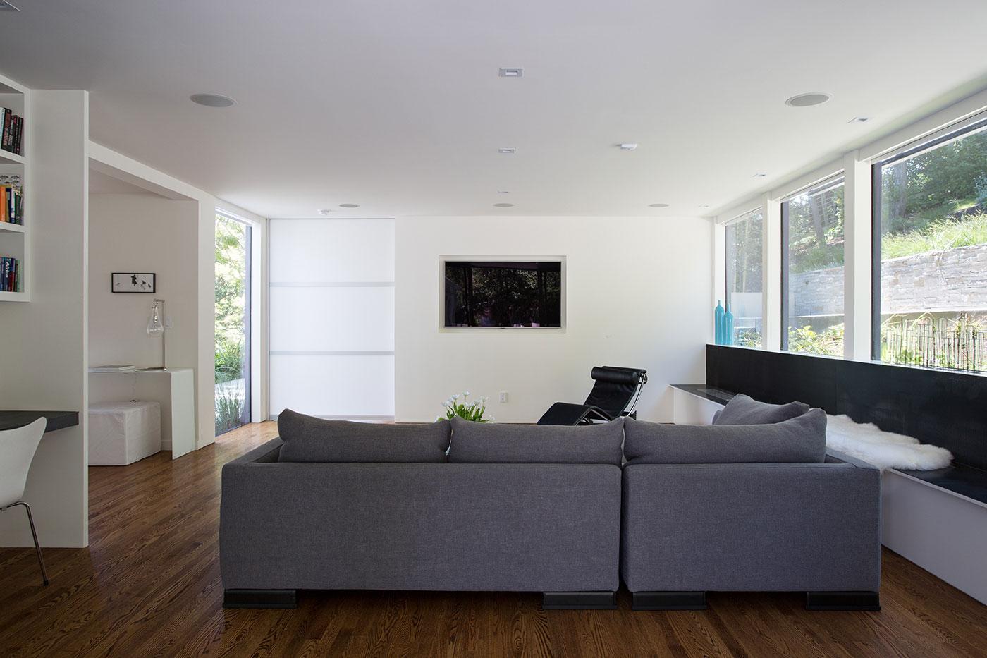 Minimal Modern Addition Home with Dark Grey Stuccoed Walls by Klopf Architecture-08