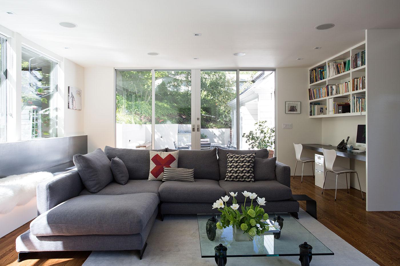 Minimal Modern Addition Home with Dark Grey Stuccoed Walls by Klopf Architecture-10