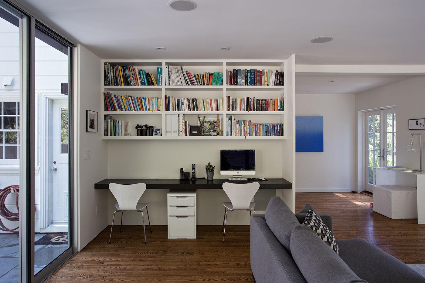 Minimal Modern Addition Home with Dark Grey Stuccoed Walls by Klopf Architecture-11
