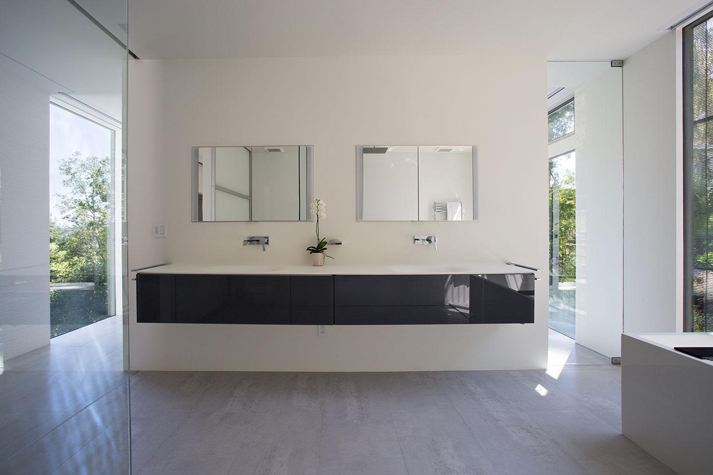 Minimal Modern Addition Home with Dark Grey Stuccoed Walls by Klopf Architecture-17