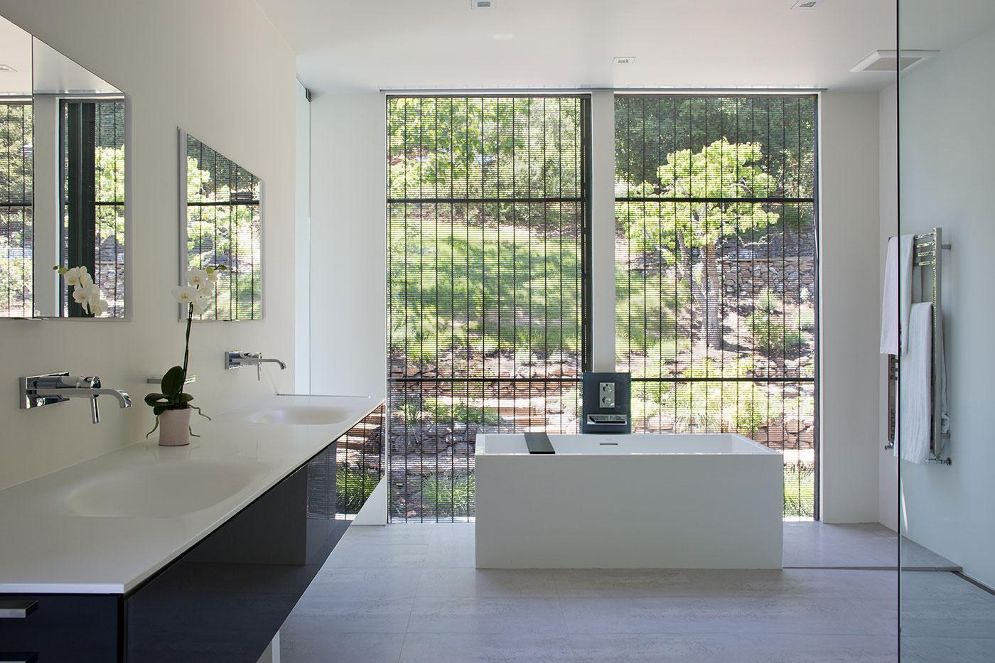 Minimal Modern Addition Home with Dark Grey Stuccoed Walls by Klopf Architecture-19