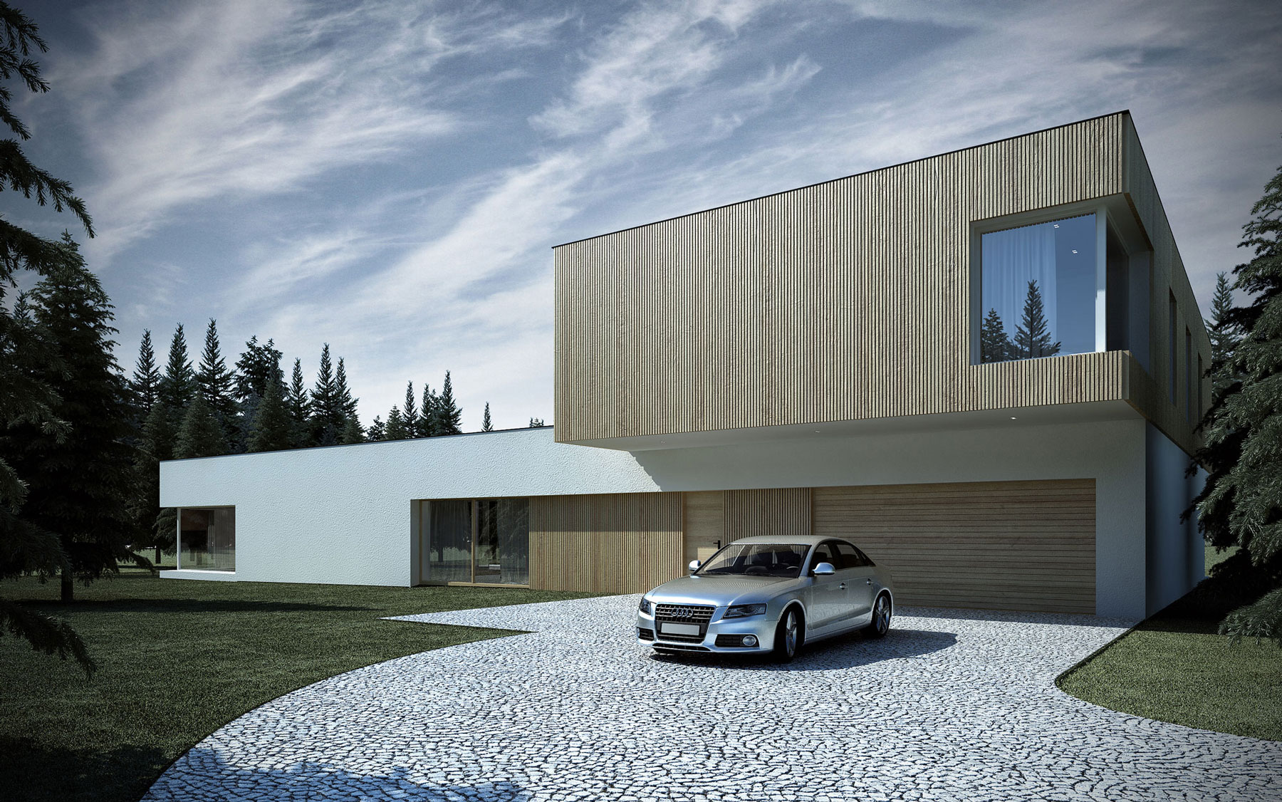 Minimalist shape with wooden verticals on the elevations ...