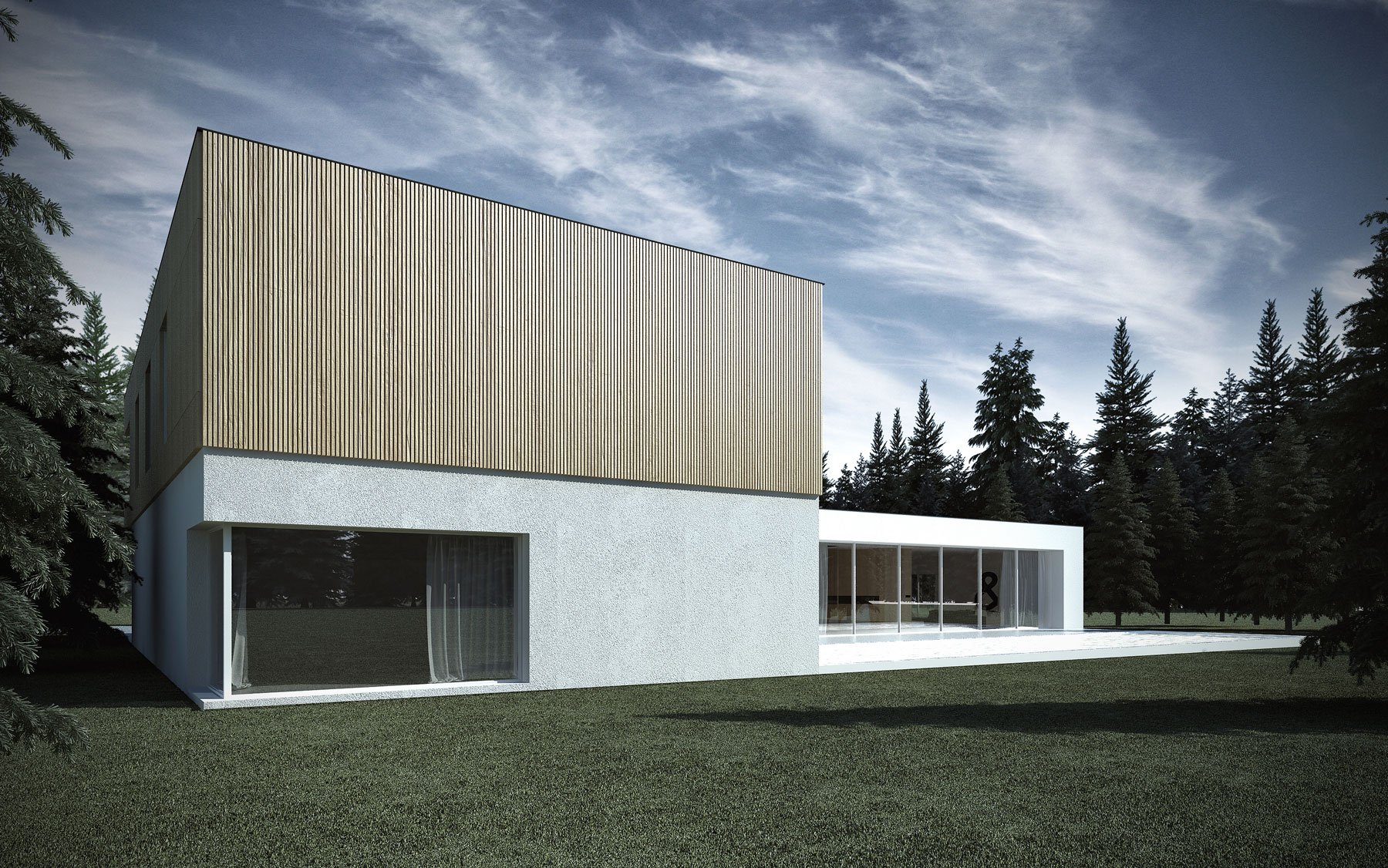 Elevation Woodwork : Minimalist shape with wooden verticals on the elevations