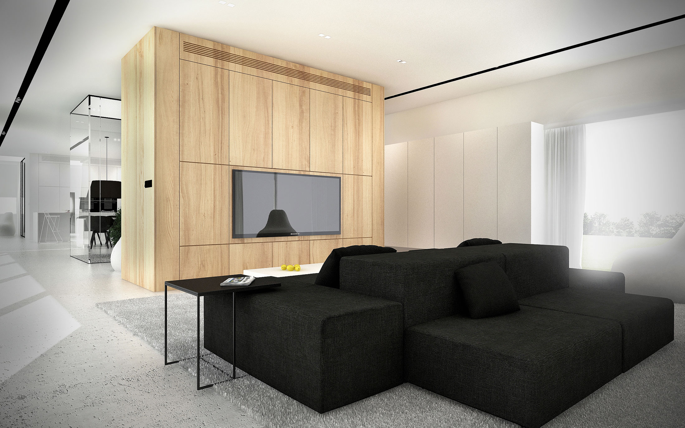 Minimalist shape with wooden verticals on the elevations of EHouse Project by Minimal Architects-05