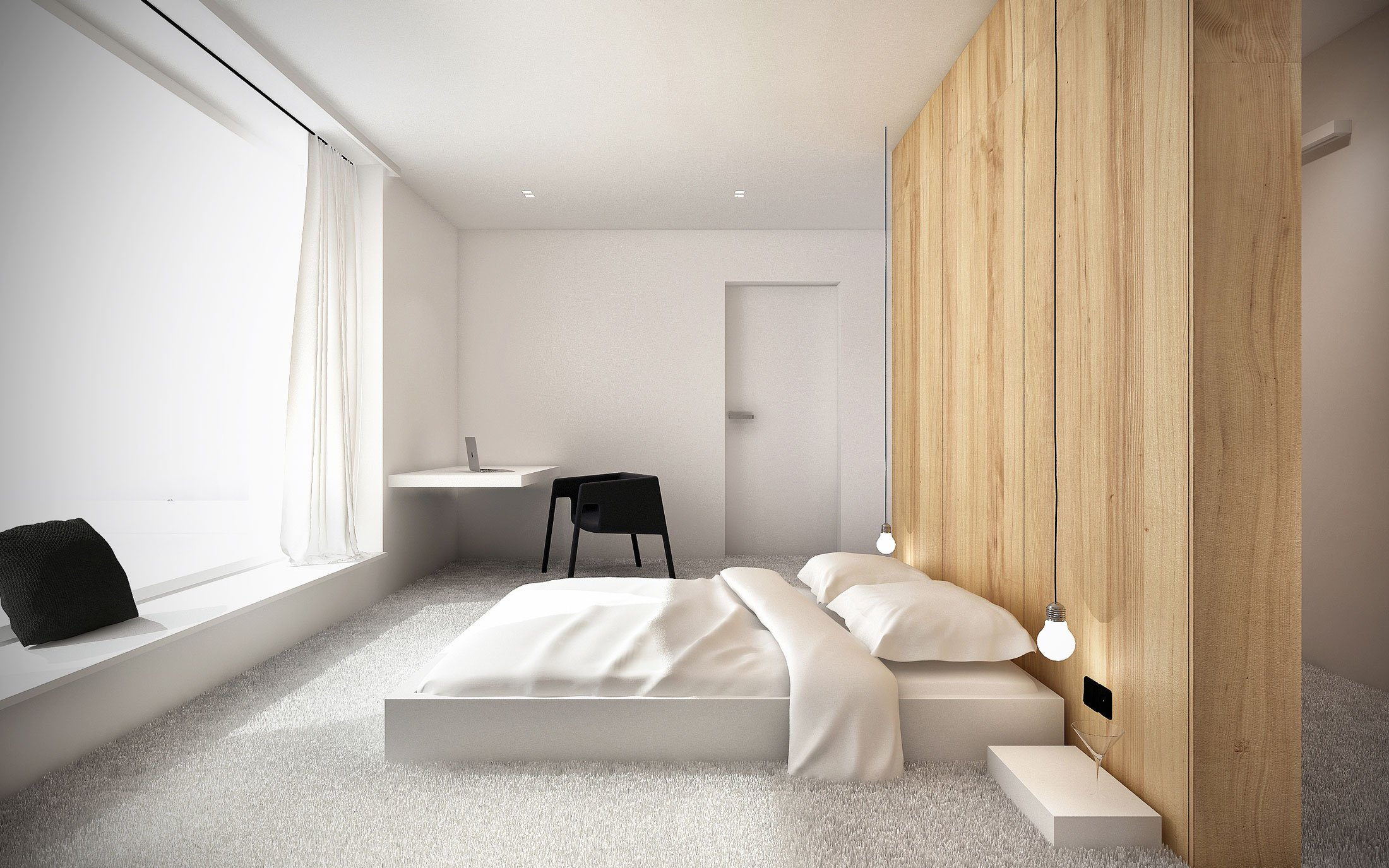 Minimalist shape with wooden verticals on the elevations of EHouse Project by Minimal Architects-11