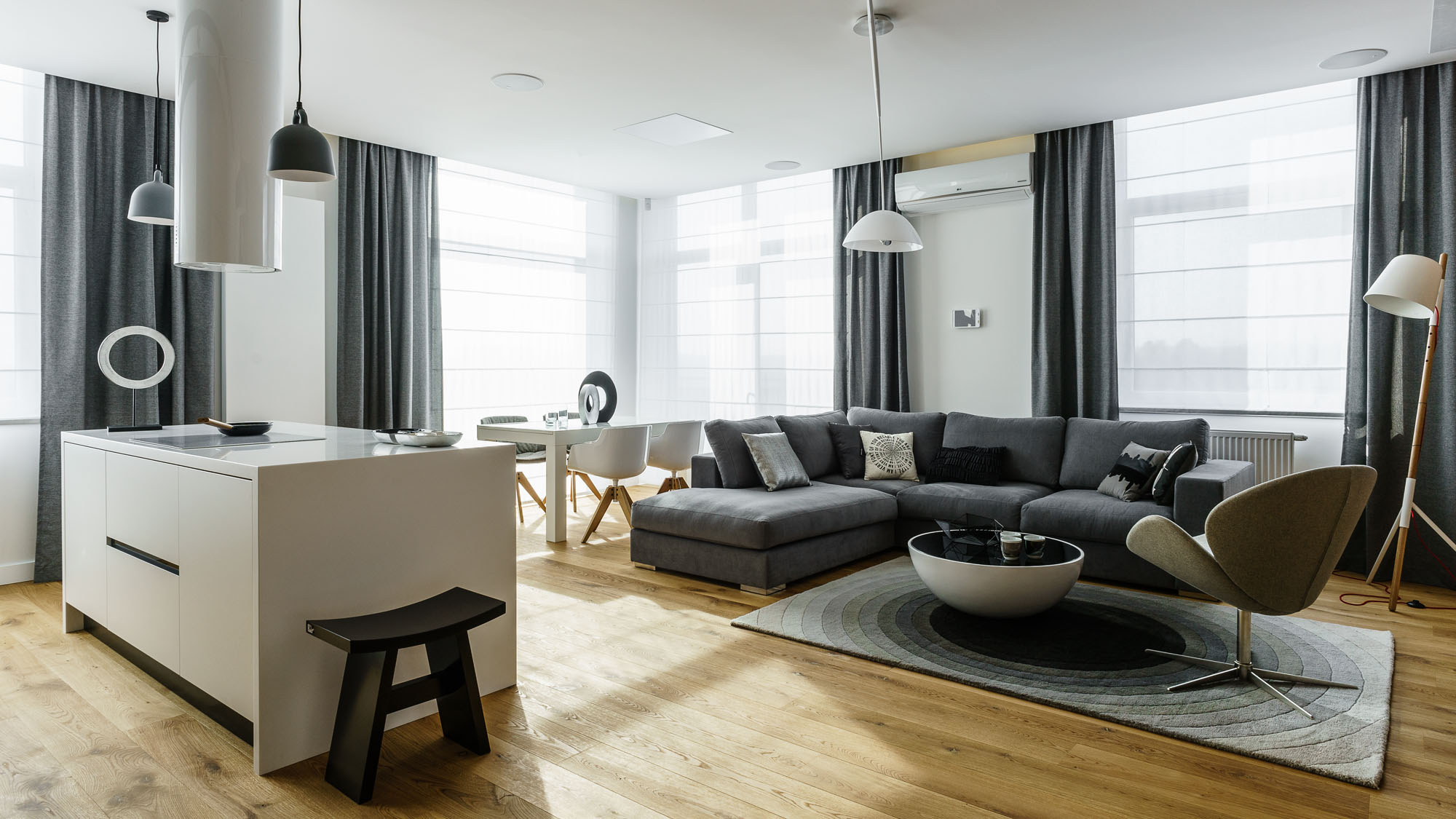 Modern Metallic, Wooden, White Theme Three Bedroom Apartment in Gdynia by Dragon Art-01
