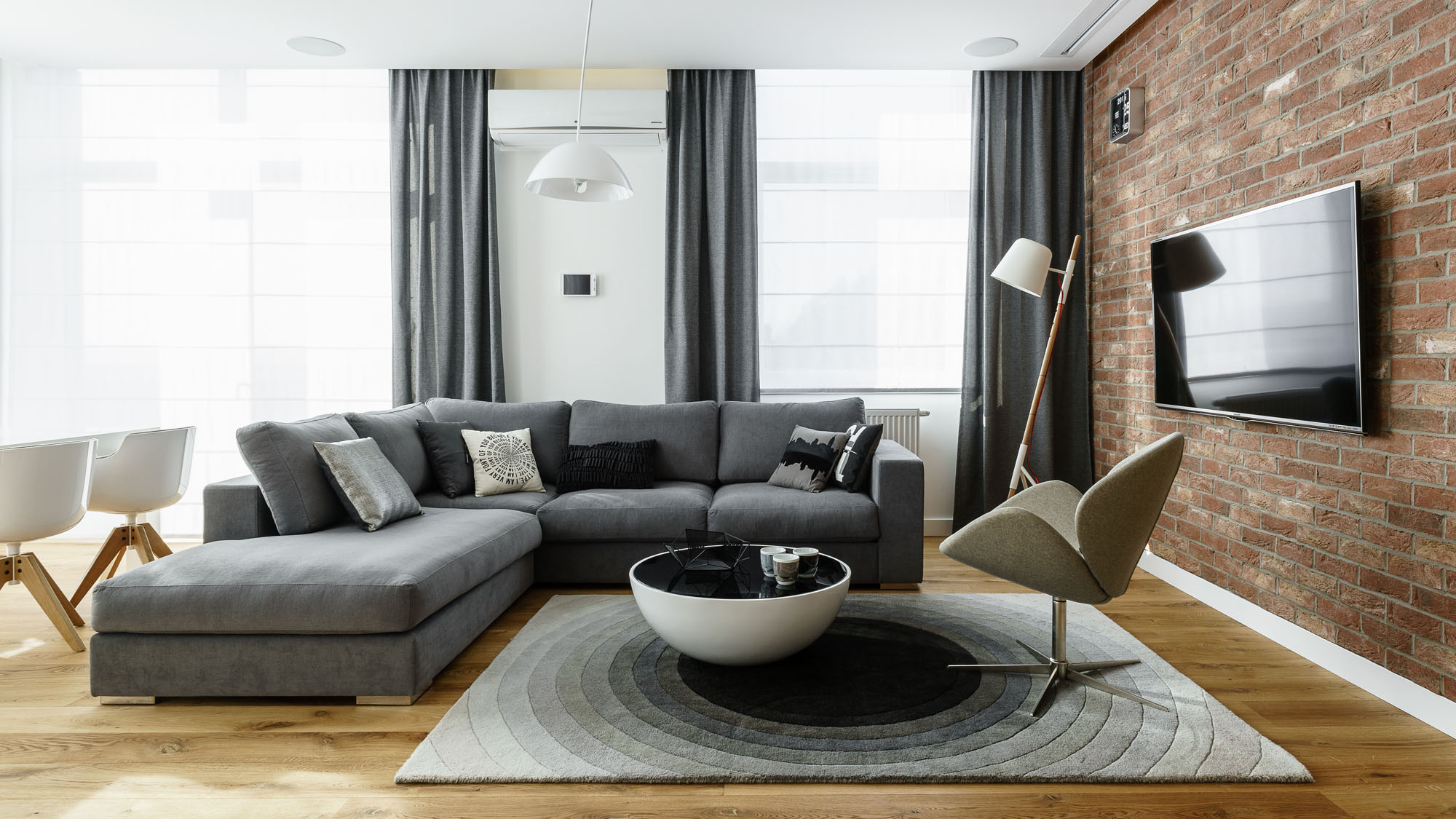 Modern Metallic, Wooden, White Theme Three Bedroom Apartment in Gdynia by Dragon Art-02