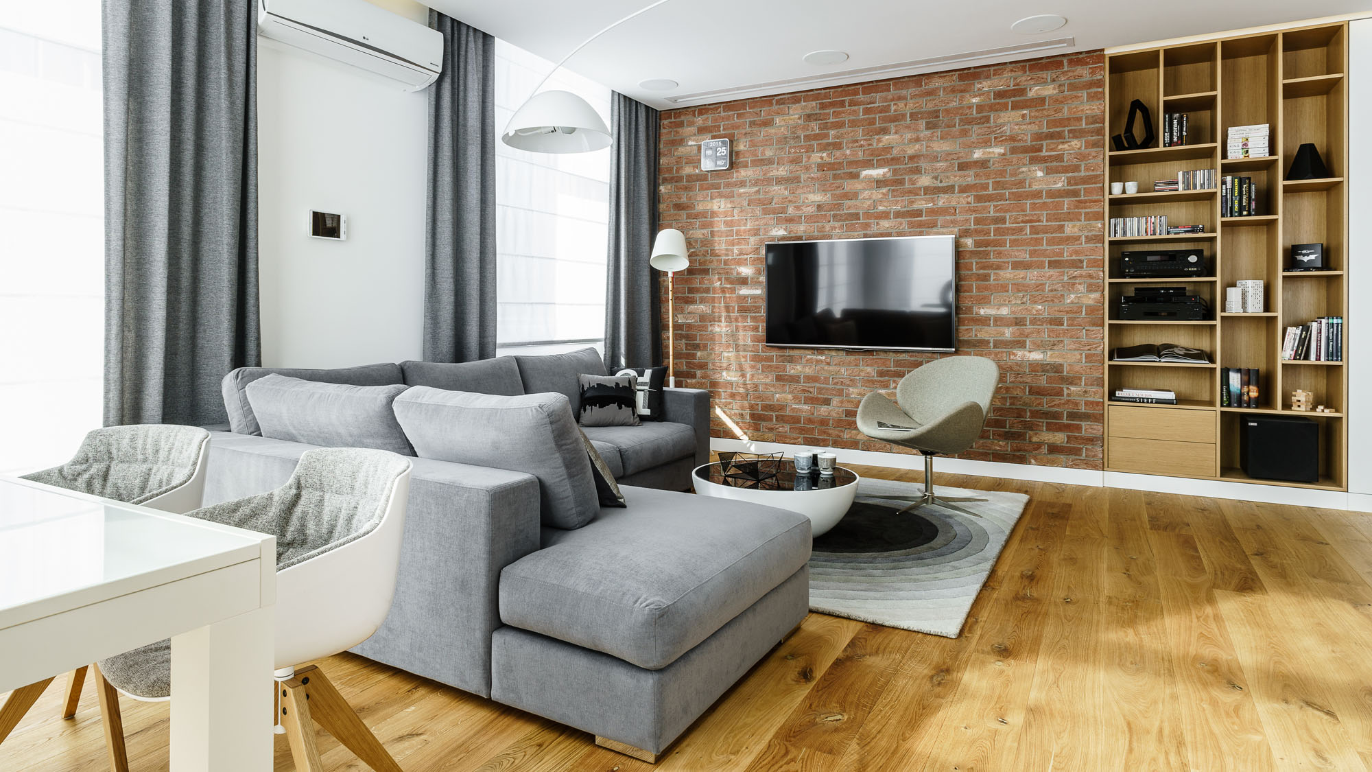 Modern Metallic, Wooden, White Theme Three Bedroom Apartment in Gdynia by Dragon Art-03