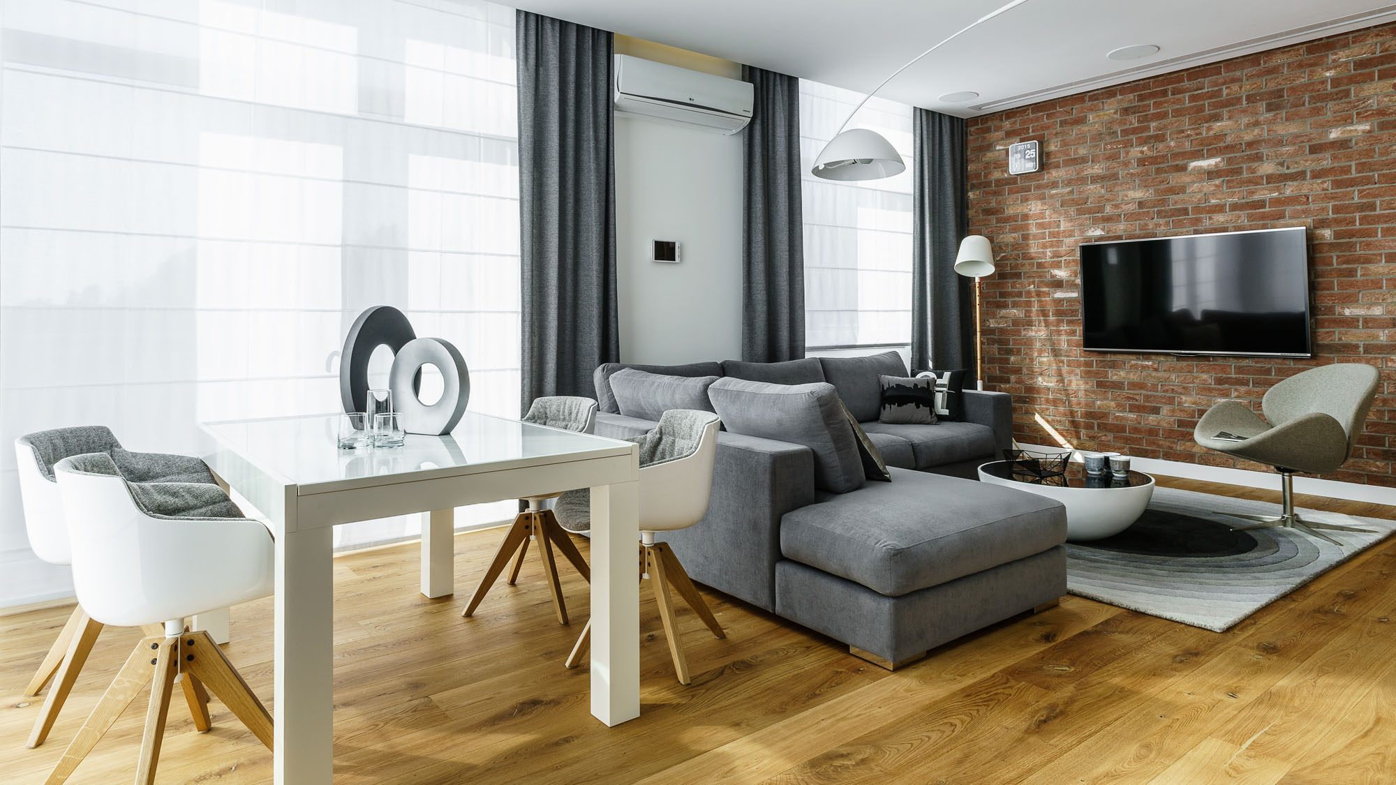 modern metallic wooden white theme three bedroom apartment in gdynia by dragon art