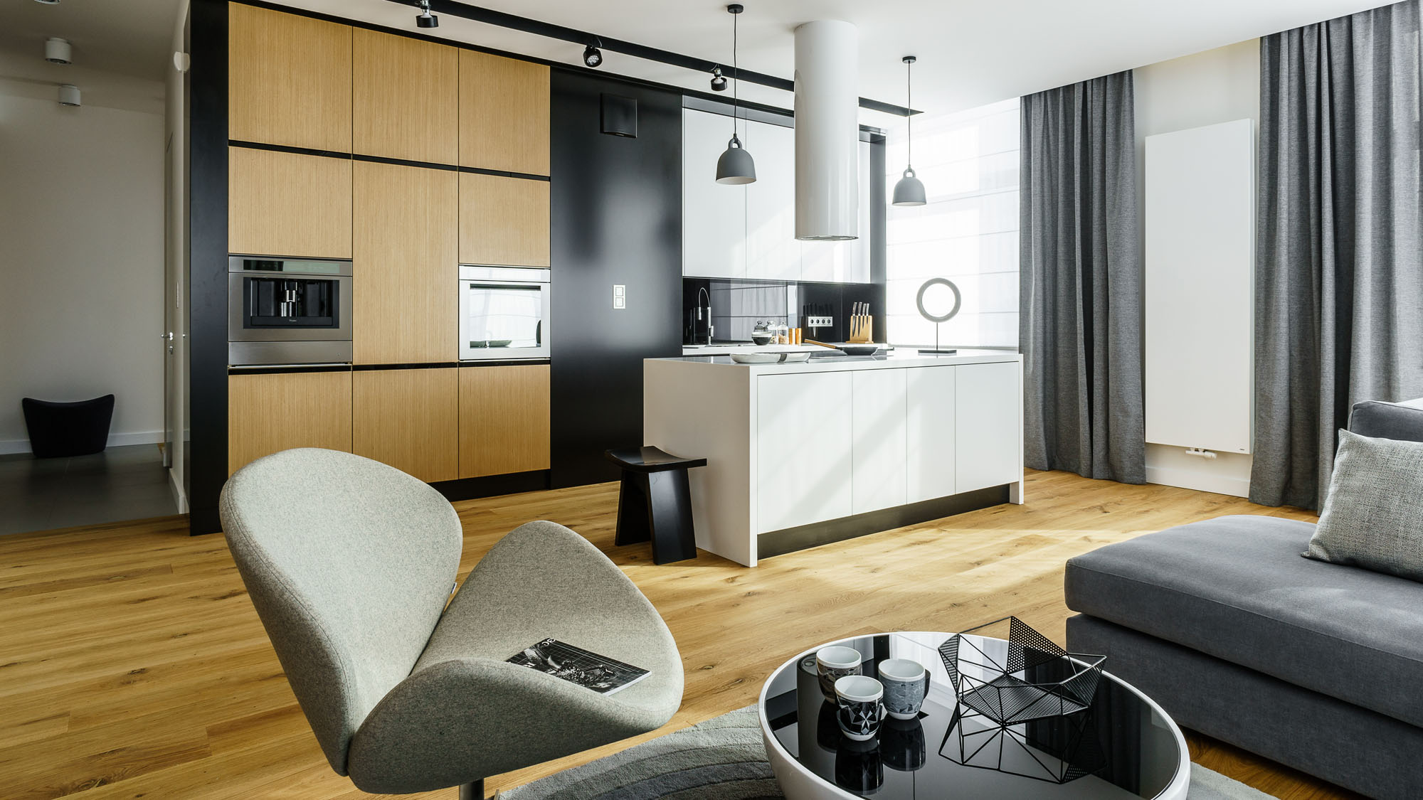 Modern Metallic, Wooden, White Theme Three Bedroom Apartment in Gdynia by Dragon Art-07