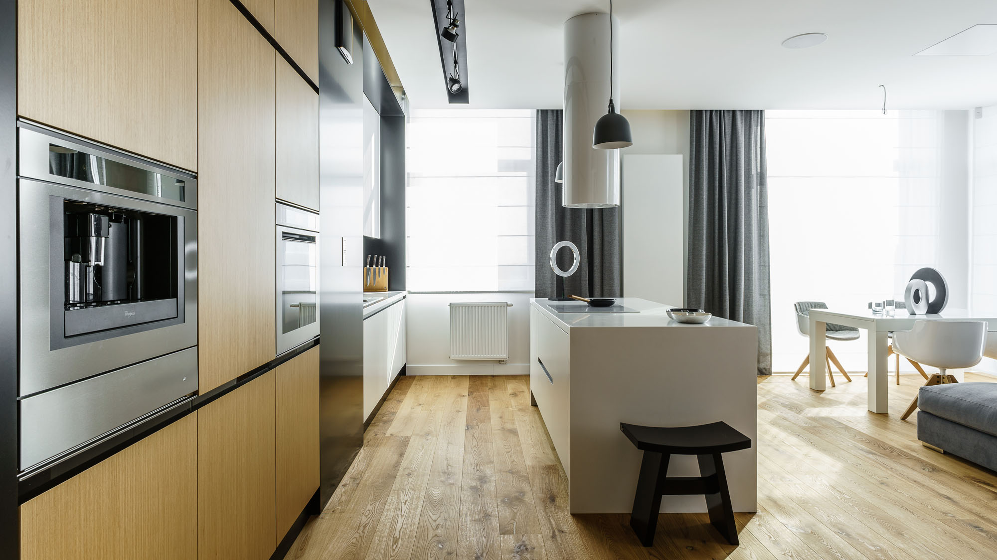 Modern Metallic, Wooden, White Theme Three Bedroom Apartment in Gdynia by Dragon Art-09