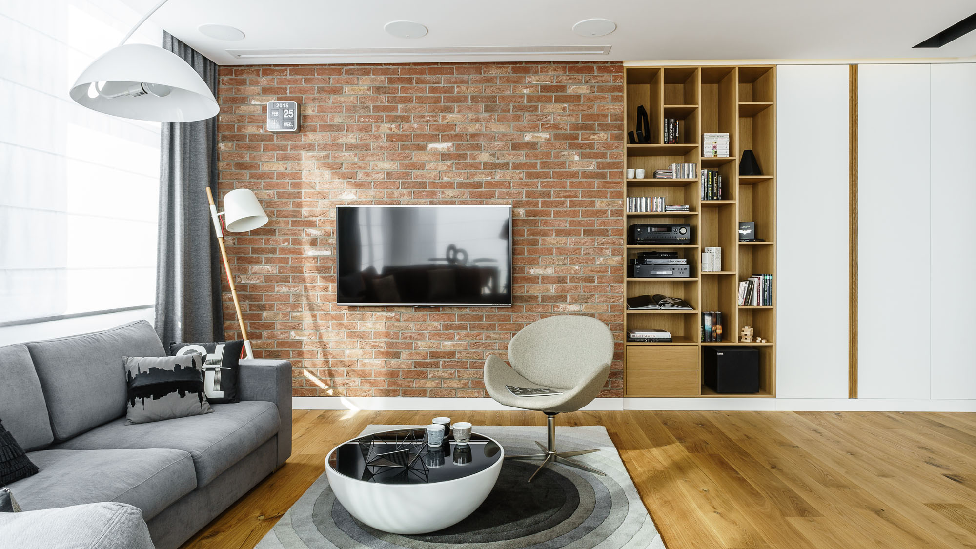 Modern Metallic, Wooden, White Theme Three Bedroom Apartment in Gdynia by Dragon Art-11