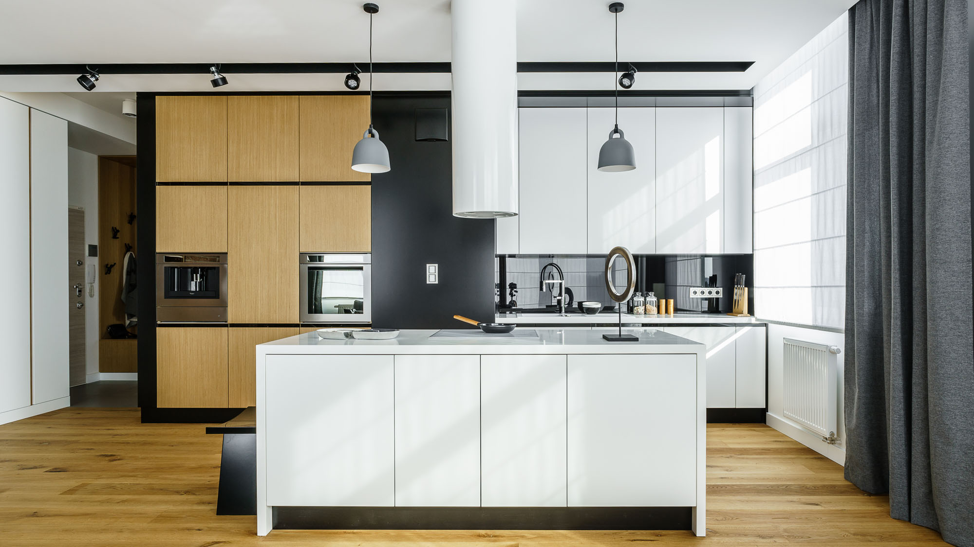 Modern Metallic, Wooden, White Theme Three Bedroom Apartment in Gdynia by Dragon Art-12
