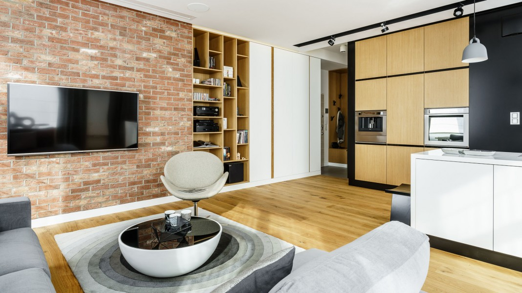 Modern Metallic, Wooden, White Theme Three Bedroom Apartment in Gdynia by Dragon Art
