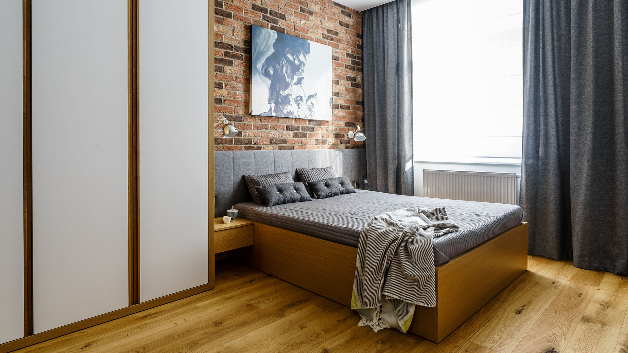 Modern Metallic, Wooden, White Theme Three Bedroom Apartment in Gdynia by Dragon Art-28