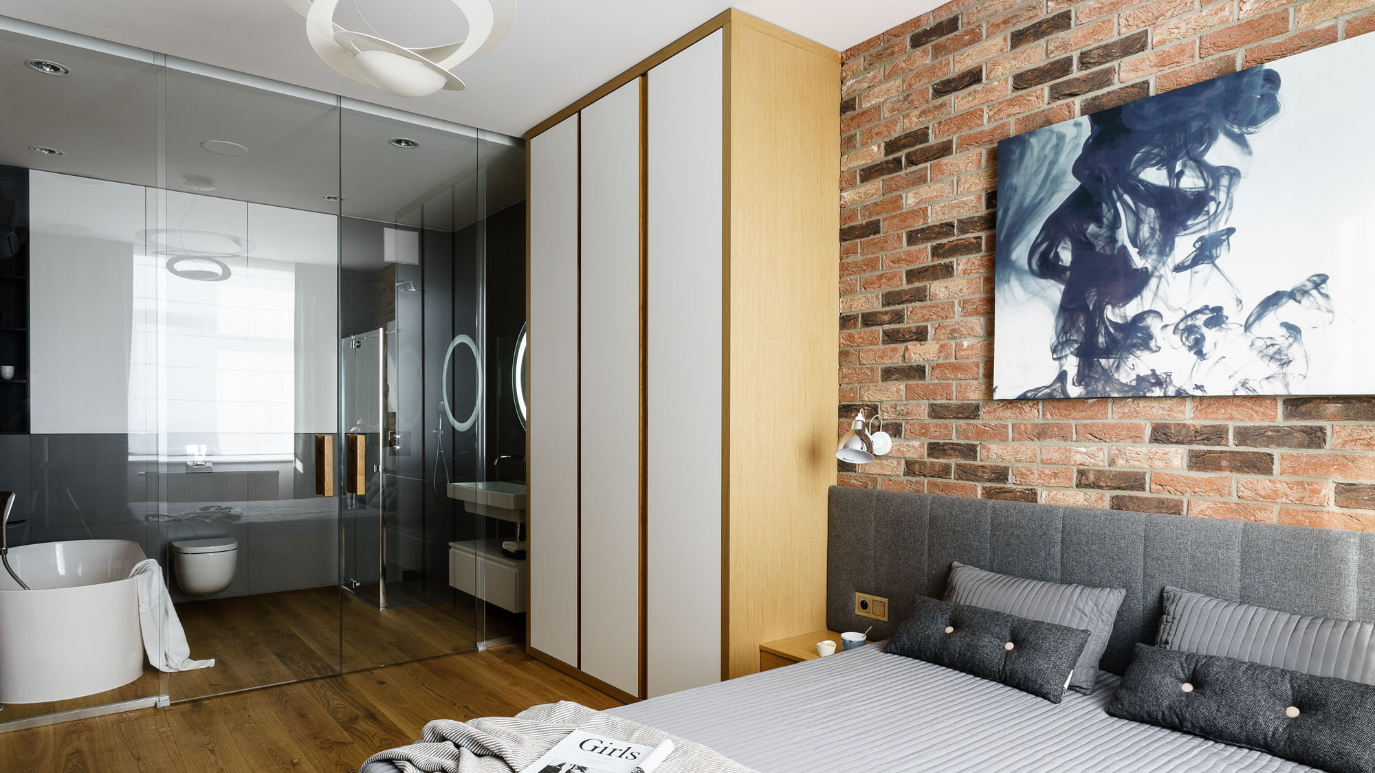 Modern Metallic, Wooden, White Theme Three Bedroom Apartment in Gdynia by Dragon Art-31
