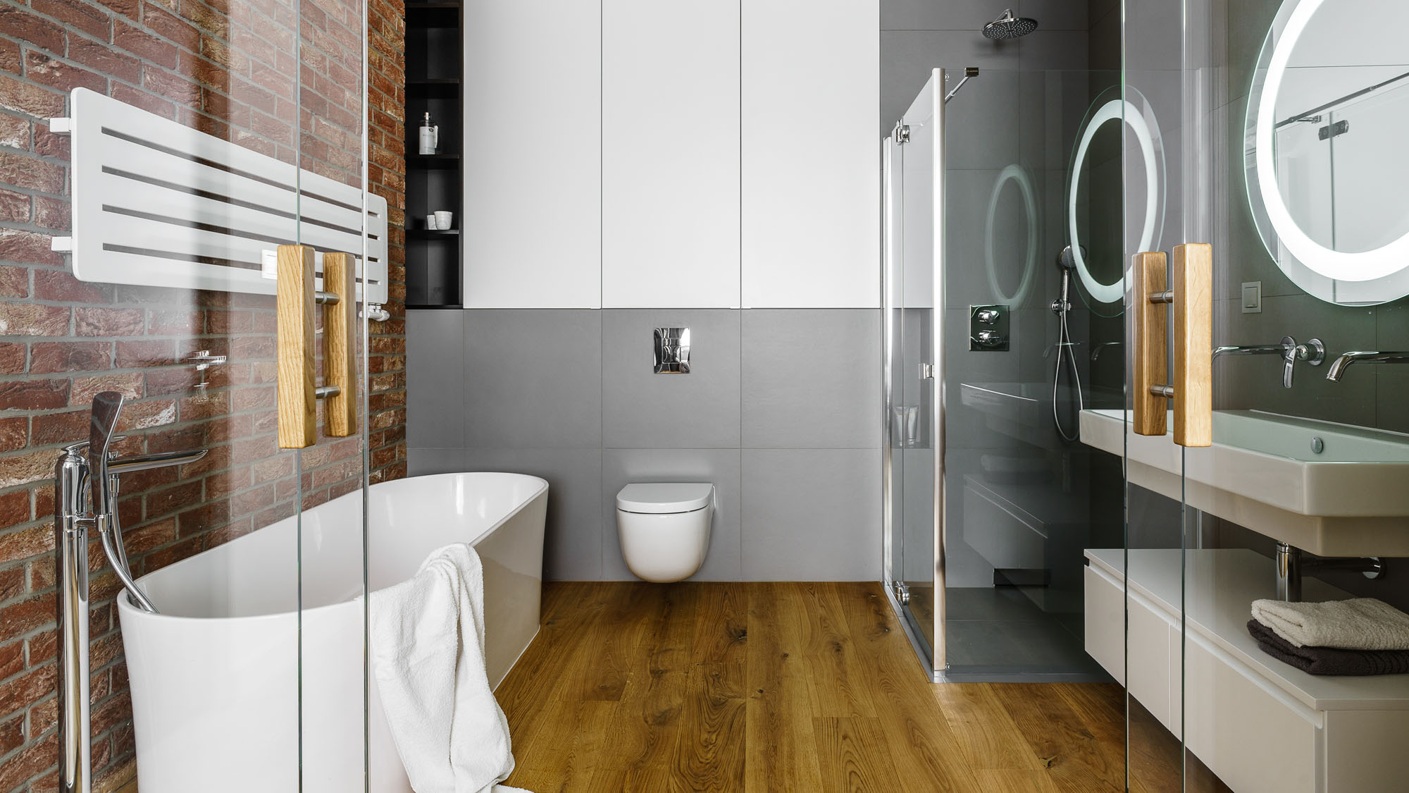 Modern Metallic, Wooden, White Theme Three Bedroom Apartment in Gdynia by Dragon Art-33