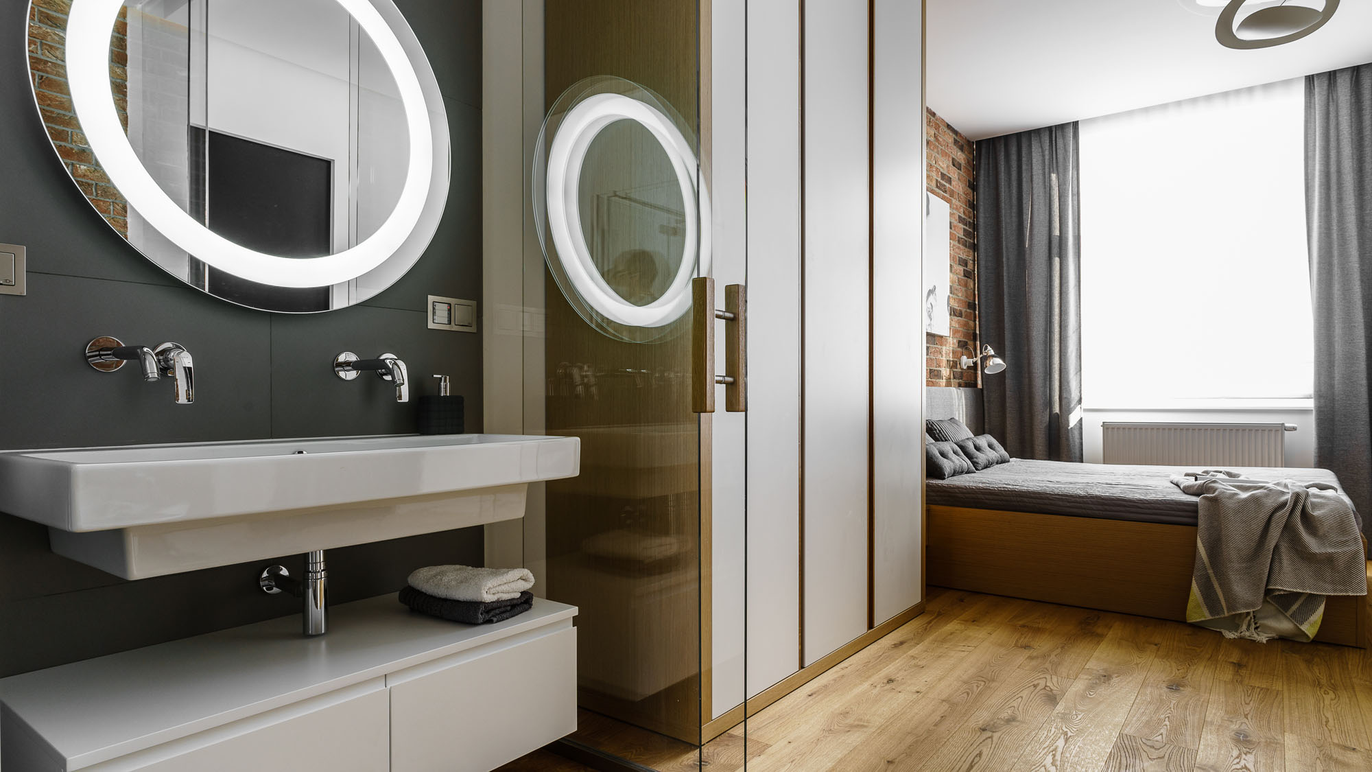 Modern Metallic, Wooden, White Theme Three Bedroom Apartment in Gdynia by Dragon Art-37