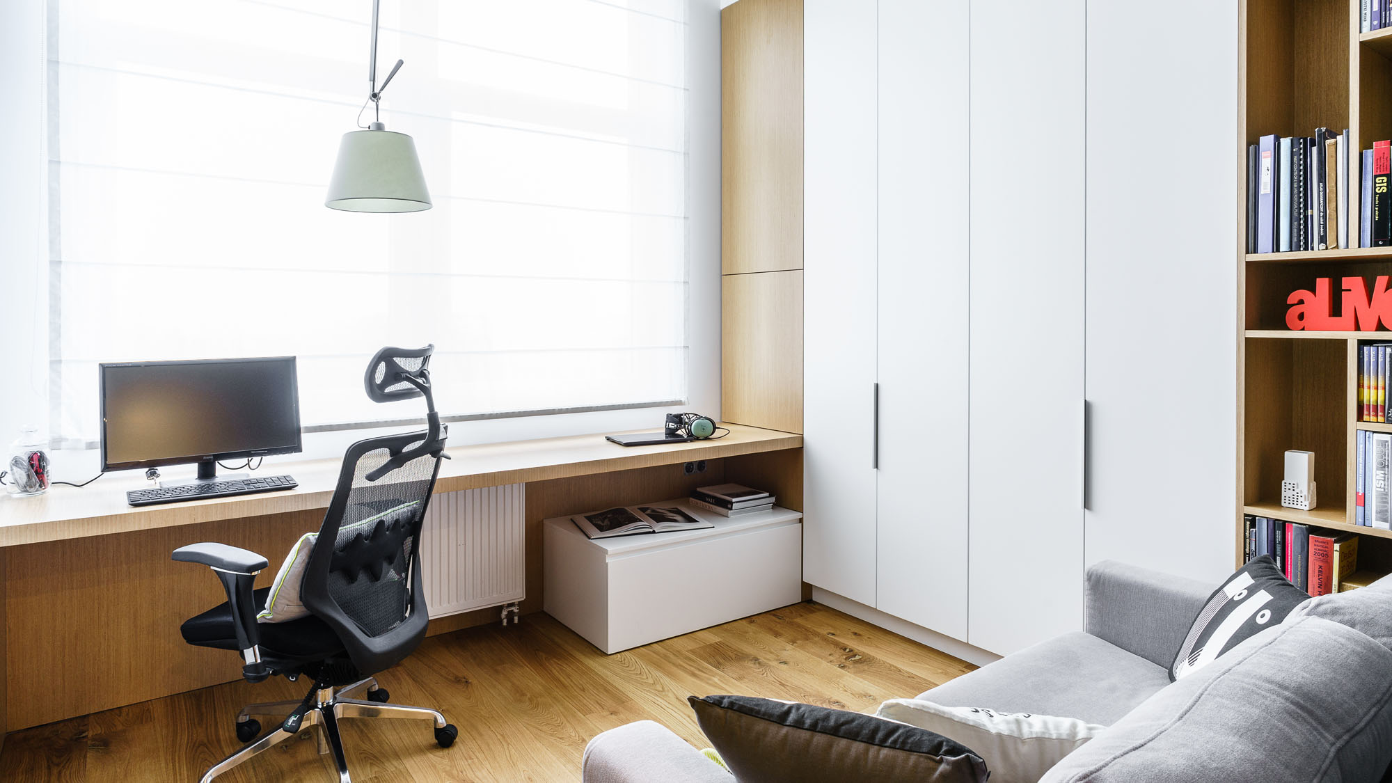 Modern Metallic, Wooden, White Theme Three Bedroom Apartment in Gdynia by Dragon Art-42
