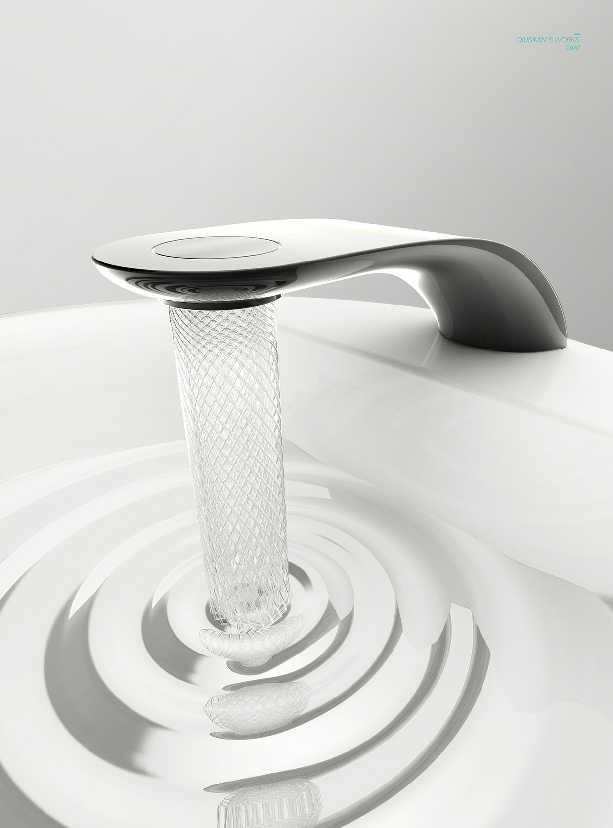 Stylish Swirl Bathroom Tap with Spiral Stream of Water and 15 Water Saving by Simin Qiu-08