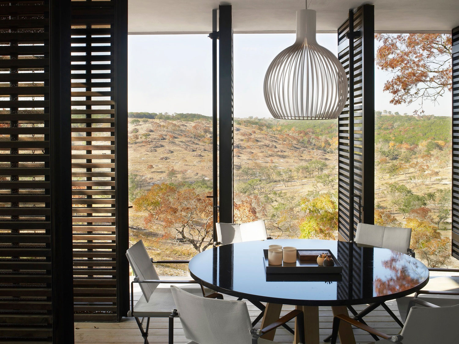 dining room with hill views