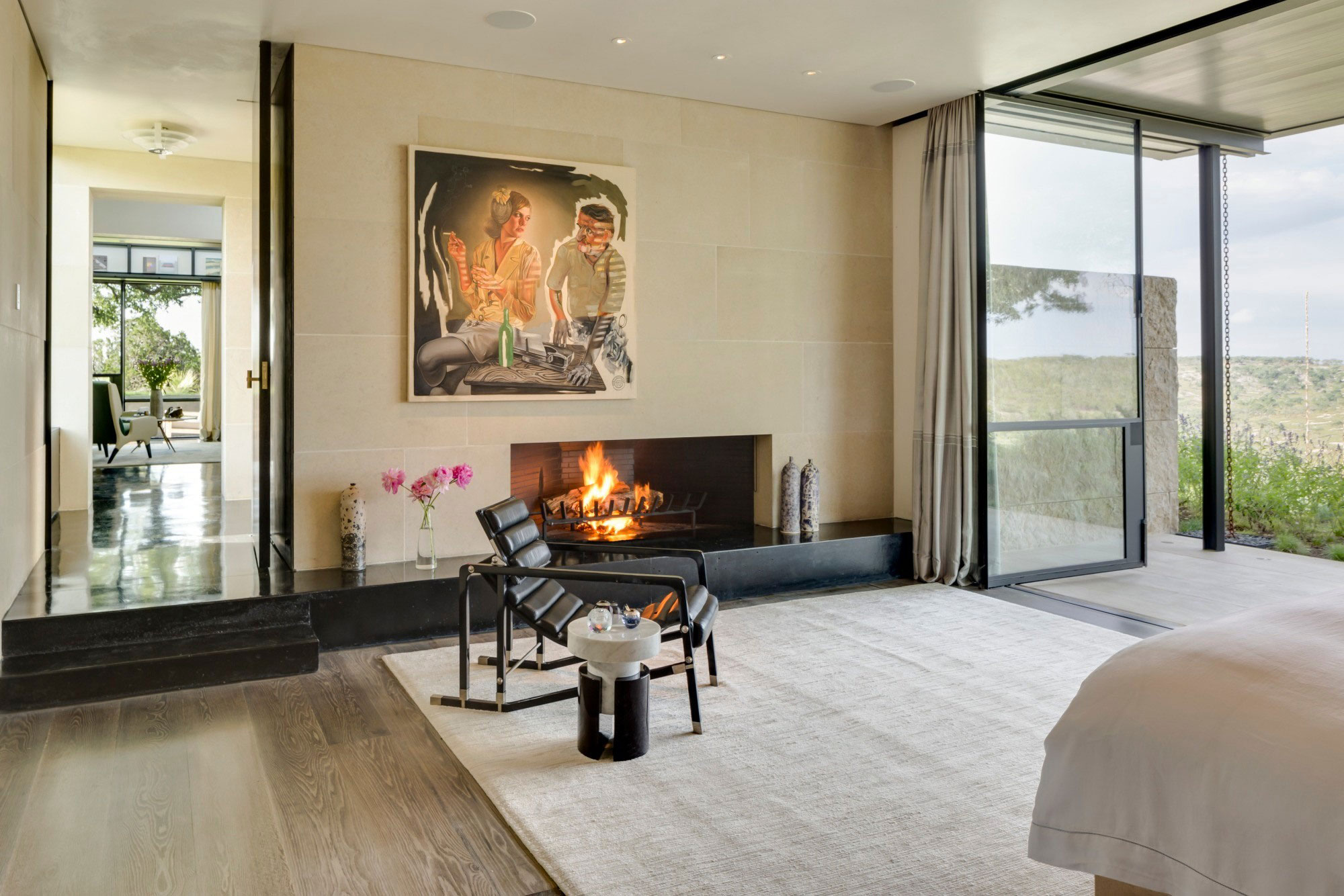 cool and cozy living room with fireplace
