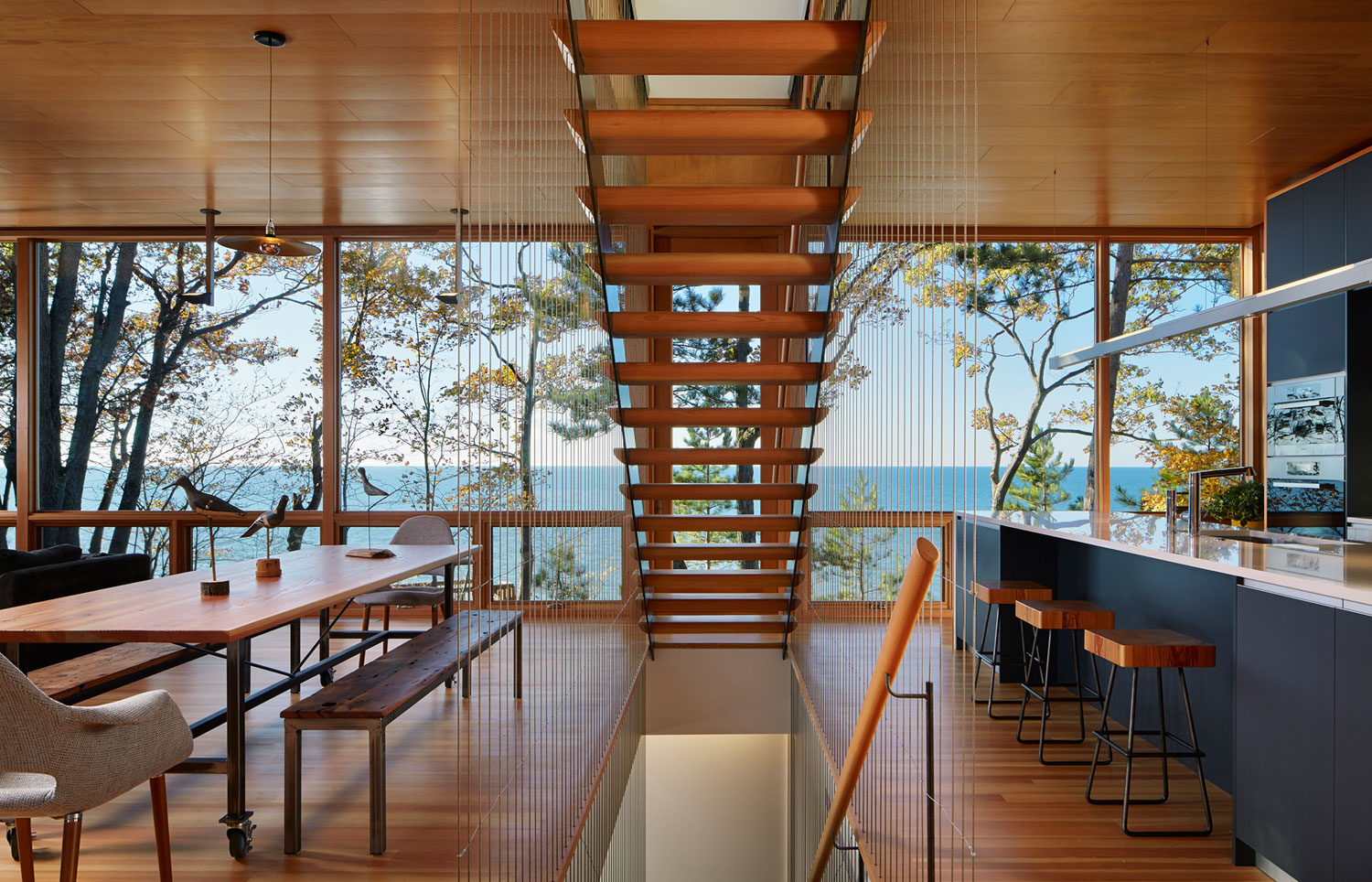 Tranquility And Simplicity Core Elements Of Suns End Retreat In Harbert Michigan By Wheeler Kearns Architects